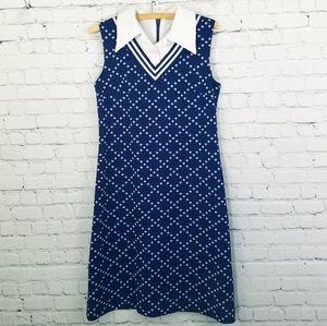 Vintage 70s Homemade Wide Collar Sleeveless Dress